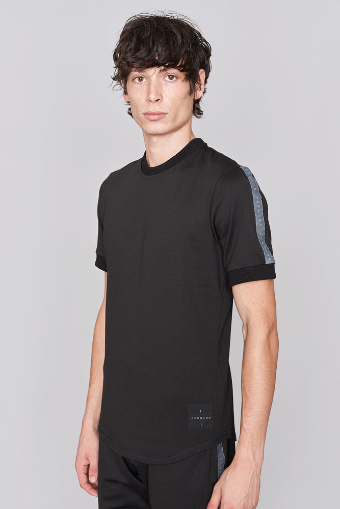 Load image into Gallery viewer, Black Taped Jersey T-Shirt - H E R M A N O