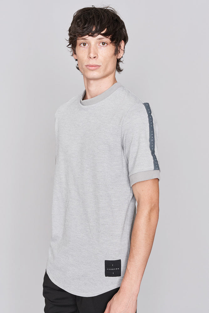 Grey Marl Taped Jersey T-Shirt - H E R M A N O