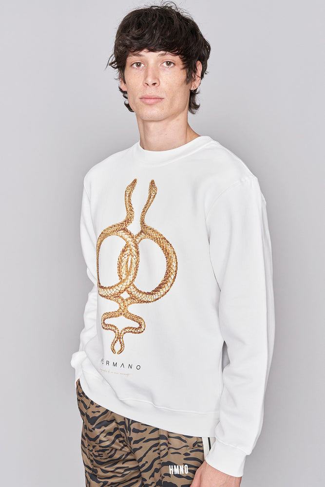 Load image into Gallery viewer, White Snake Print Sweatshirt - H E R M A N O