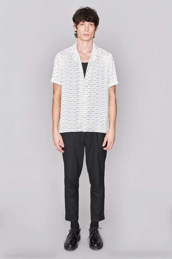 Load image into Gallery viewer, White Signature Print Revere Collar Shirt - H E R M A N O