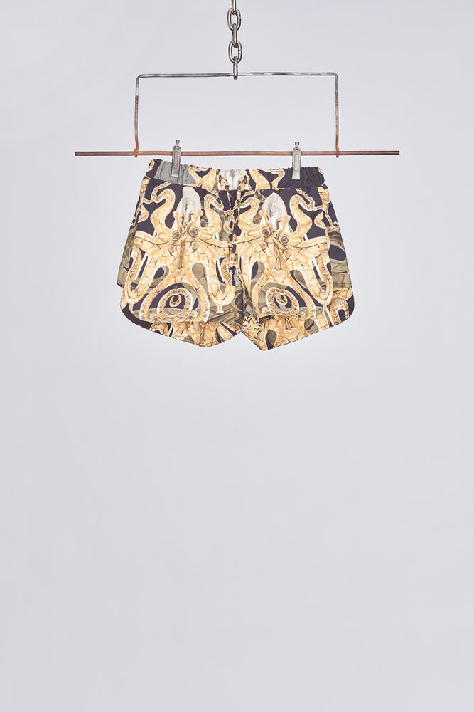 Black All Over Kraken Print Swim Shorts - H E R M A N O