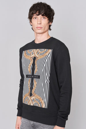 Black Cross Print Sweatshirt - H E R M A N O