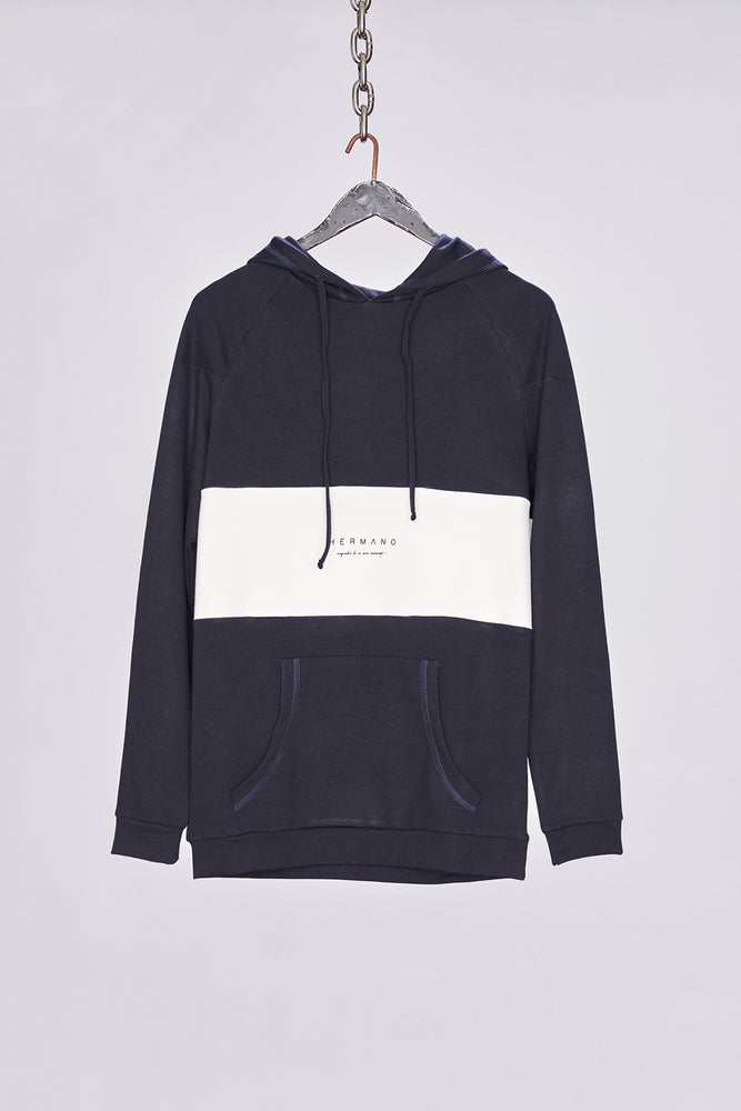 Navy Chest Panel Pull Over - H E R M A N O