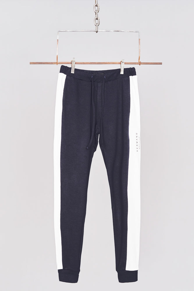 Load image into Gallery viewer, Navy Side Panel Jersey Pant - H E R M A N O