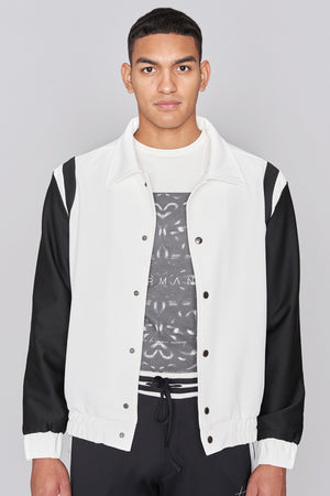 Ivory and Black Varsity Jacket - H E R M A N O