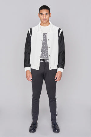 Load image into Gallery viewer, Ivory and Black Varsity Jacket - H E R M A N O