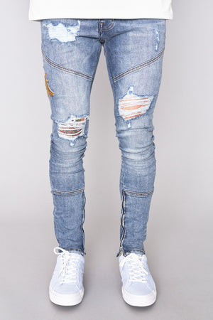 Mid Wash Embroidered Bee Jean - H E R M A N O