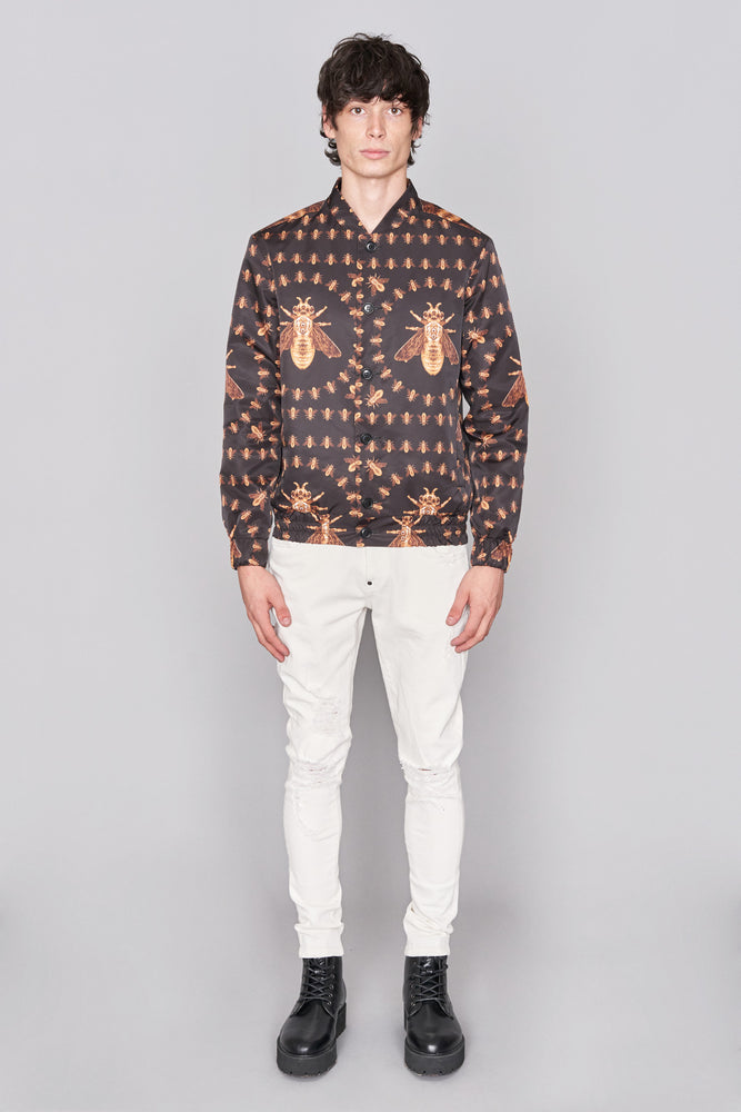 Load image into Gallery viewer, Black Bee Bomber Jacket - H E R M A N O