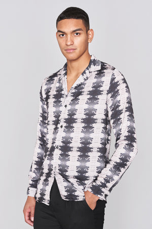 Dark Grey Snake Print Long Sleeve Slim Fit Shirt - H E R M A N O