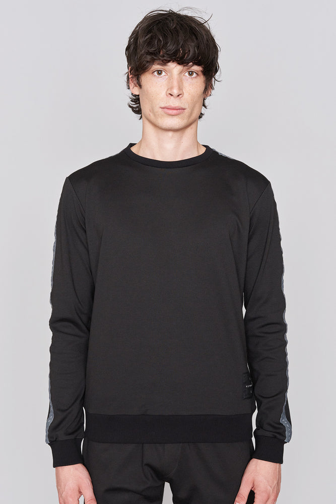Black Taped Jersey Crew Sweatshirt - H E R M A N O