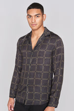Black Camo Print Long Sleeve Slim Fit Shirt - H E R M A N O