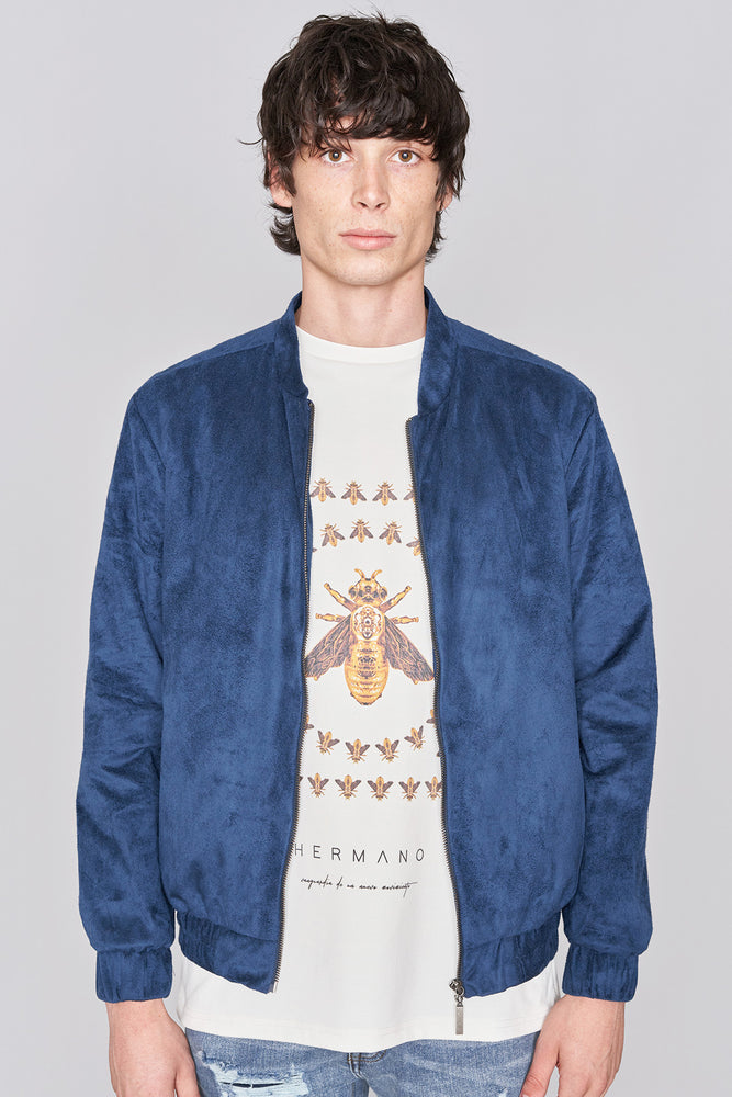 Load image into Gallery viewer, Navy Suedette Jacket - H E R M A N O