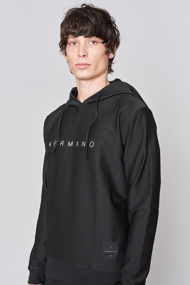 Black Core Logo Hooded Sweatshirt - H E R M A N O