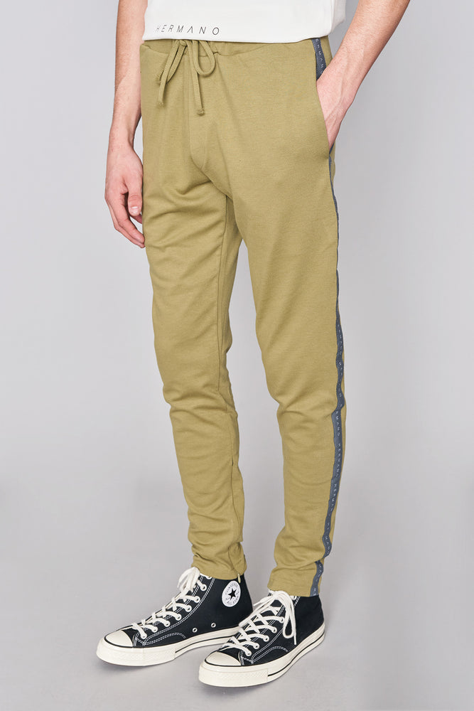 Olive Taped Jersey Track Pant - H E R M A N O