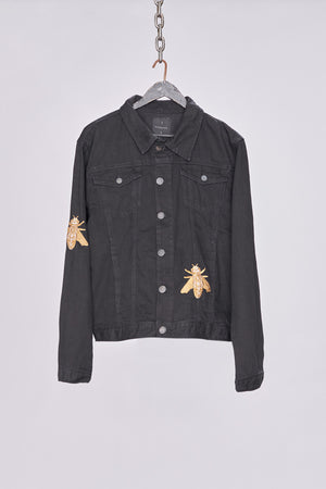 Black Embroidered Denim Jacket - H E R M A N O