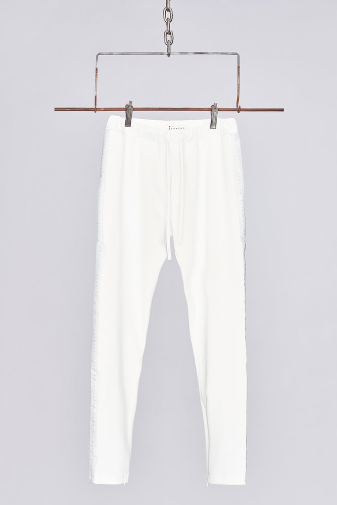 White Taped Jersey Track Pant - H E R M A N O