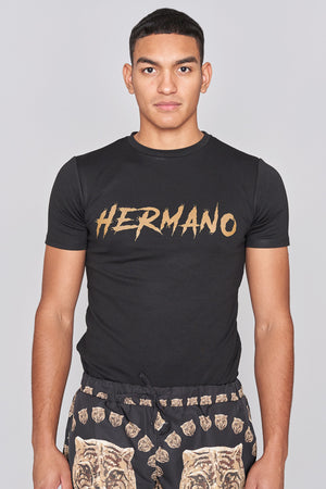 Load image into Gallery viewer, Black Scrawl Print Logo T-Shirt - H E R M A N O