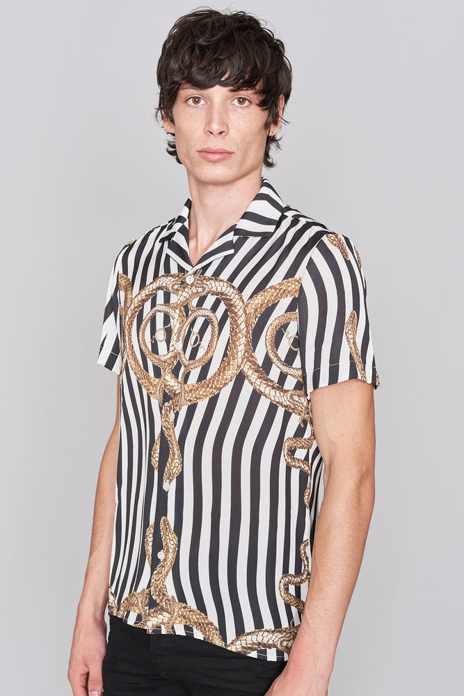 Load image into Gallery viewer, Black White Revere Collar Snake Print Shirt - H E R M A N O