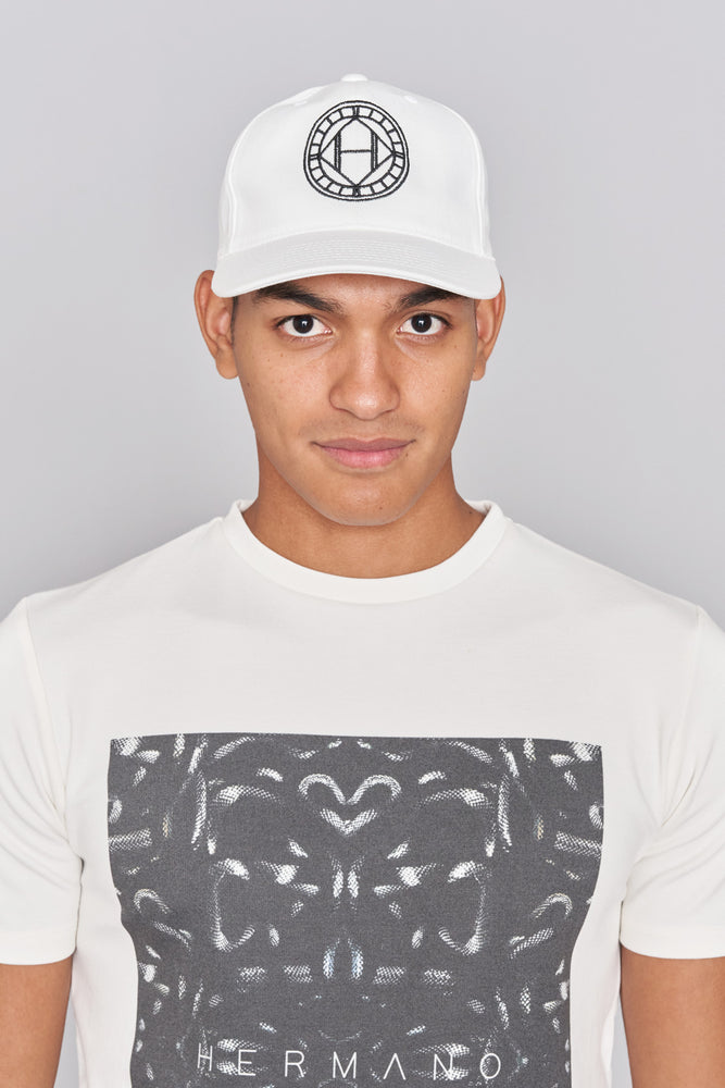 Load image into Gallery viewer, White Mosaic Embroidered Snapback Cap - H E R M A N O