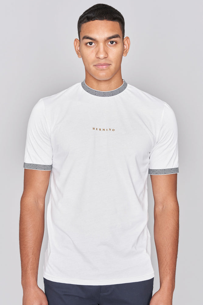 White Mosaic Taped Muscle Fit T-shirt - H E R M A N O