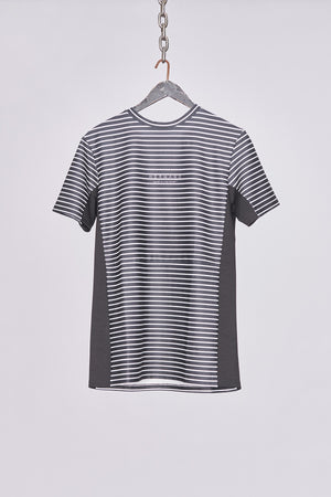 Load image into Gallery viewer, Black & White Stripe Side Panel Jersey T-Shirt - H E R M A N O