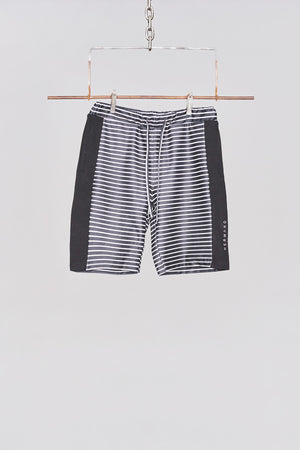 Black & White Stripe Side Panel Jersey Short - H E R M A N O