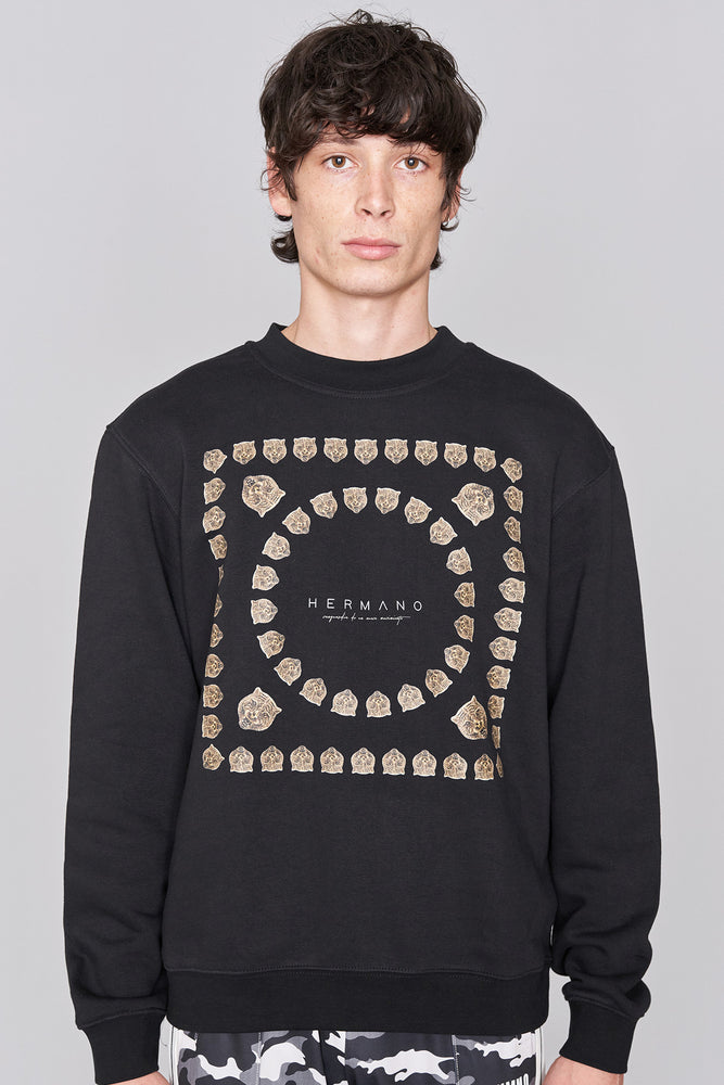 Black Tiger Crew Neck Sweatshirt - H E R M A N O