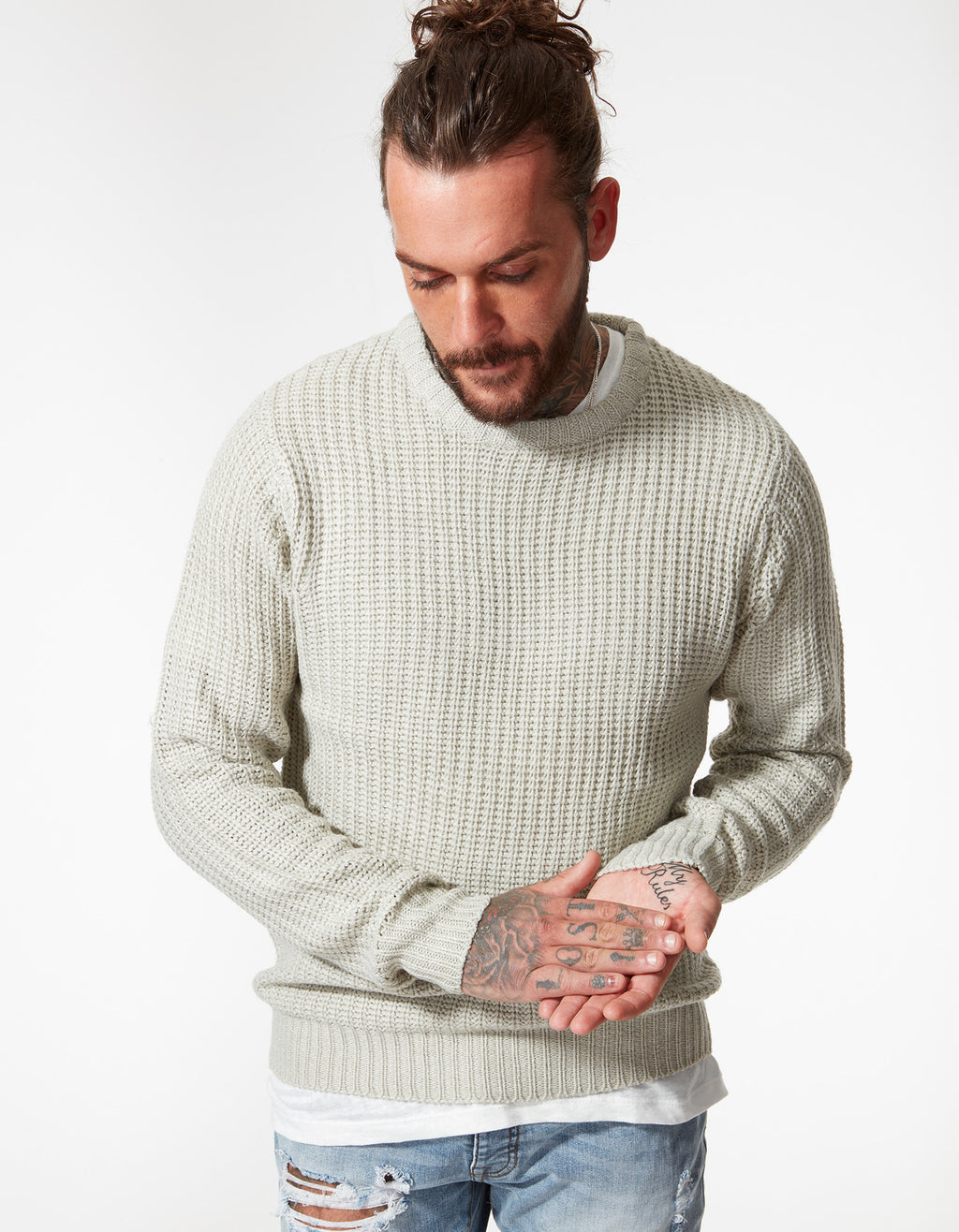BRUNO LIGHTWEIGHT KNIT SWEATSHIRT BARLEY