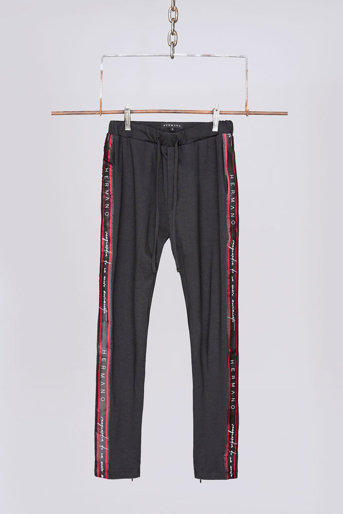 Load image into Gallery viewer, Black logo taped slim fit joggers - H E R M A N O