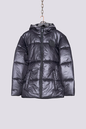 Load image into Gallery viewer, Black hooded puffer jacket - H E R M A N O