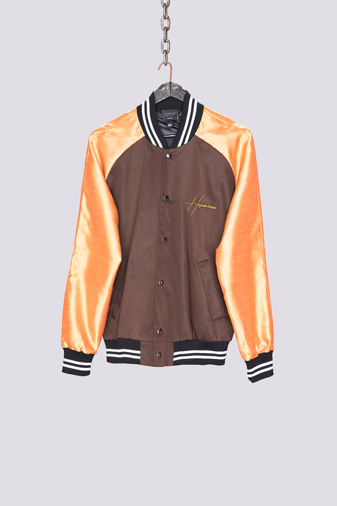 Load image into Gallery viewer, Tan contrast sleeve bomber jacket - H E R M A N O