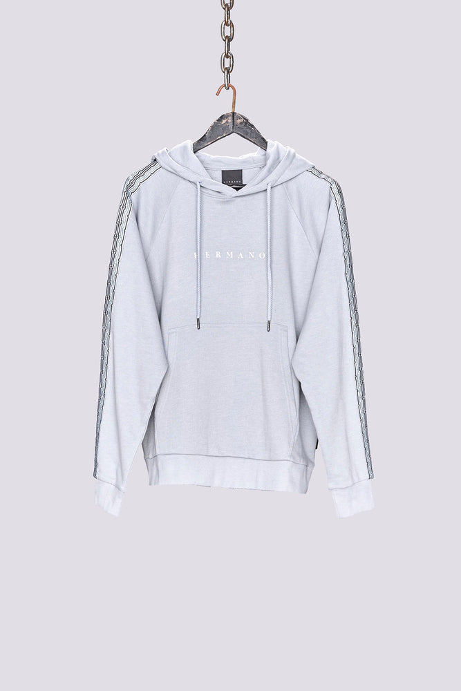 Light Grey Mosaic Taped Regular Fit Hoodie - H E R M A N O