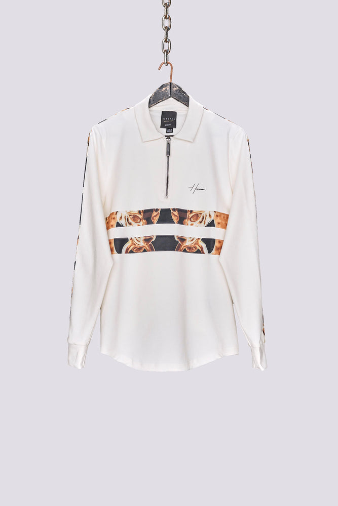 Cream stripe print zip neck polo shirt - H E R M A N O