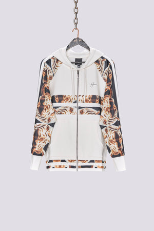 Cream contrast print zip through hoodie - H E R M A N O