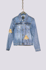 Blue mid wash embroidered bee denim jacket - H E R M A N O