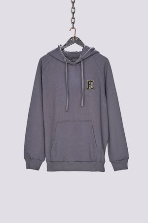 Charcoal drop out regular fit hoodie - H E R M A N O