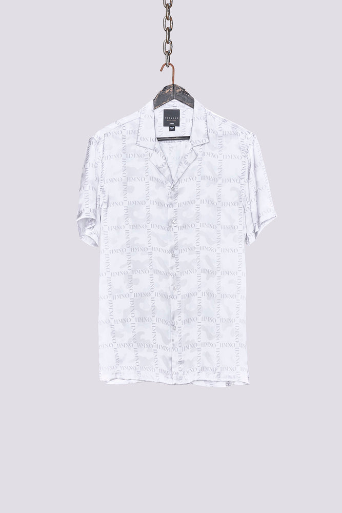 Load image into Gallery viewer, White camo print short sleeve slim fit shirt - H E R M A N O