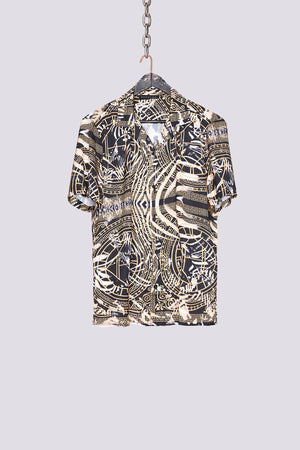 Load image into Gallery viewer, Black zebra print revere collar slim fit shirt - H E R M A N O