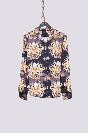Load image into Gallery viewer, Black kraken print long sleeve slim fit shirt - H E R M A N O