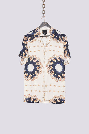 Load image into Gallery viewer, White ram print short sleeve slim fit shirt - H E R M A N O