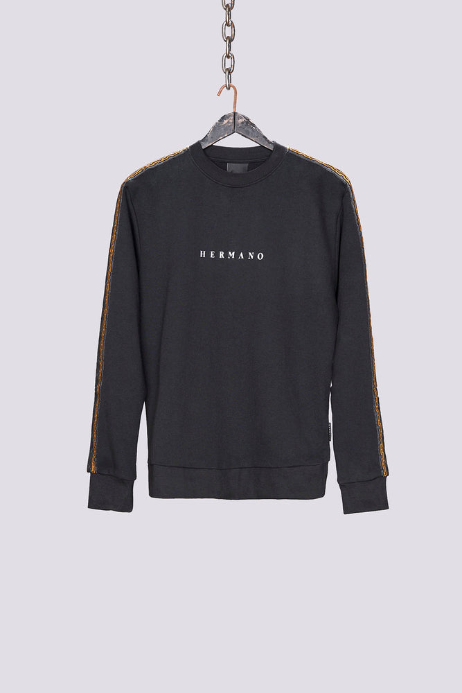 Load image into Gallery viewer, Black mosaic taped regular fit sweatshirt - H E R M A N O