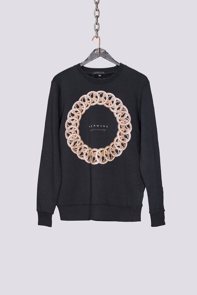 Black ring print regular fit sweatshirt - H E R M A N O