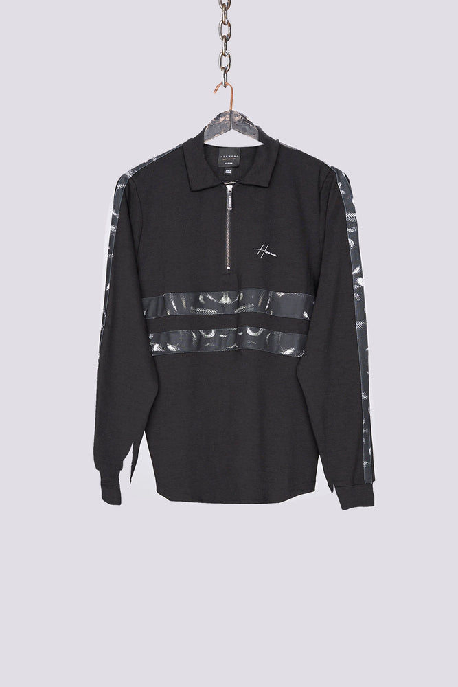 Black snake print zip neck regular fit polo shirt - H E R M A N O