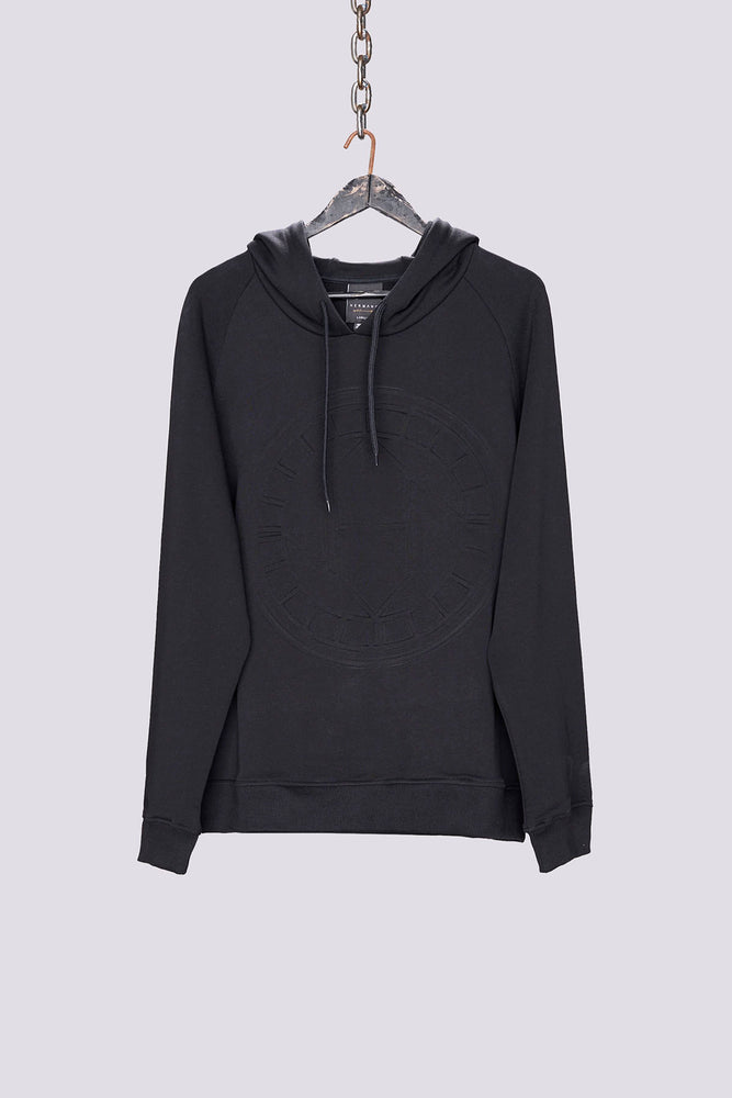 Black logo embossed regular fit hoodie - H E R M A N O