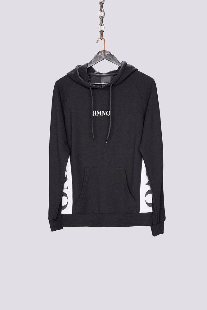 Load image into Gallery viewer, Black logo taped regular fit hoodie - H E R M A N O