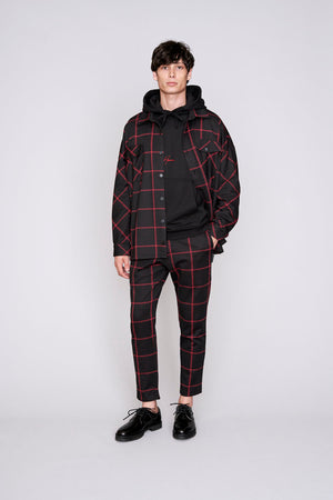 Black and red check flannel overshirt - H E R M A N O