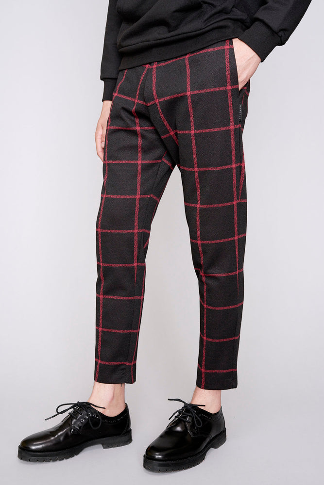 Black and red check slim fit trousers - H E R M A N O