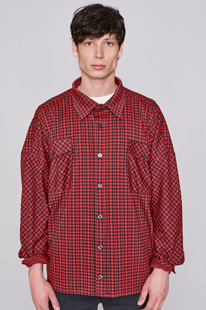 Red and navy check flannel overshirt - H E R M A N O