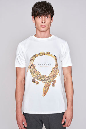 Load image into Gallery viewer, White crocodile print slim fit t-shirt - H E R M A N O