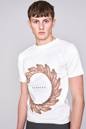 Load image into Gallery viewer, White snake print slim fit t-shirt - H E R M A N O